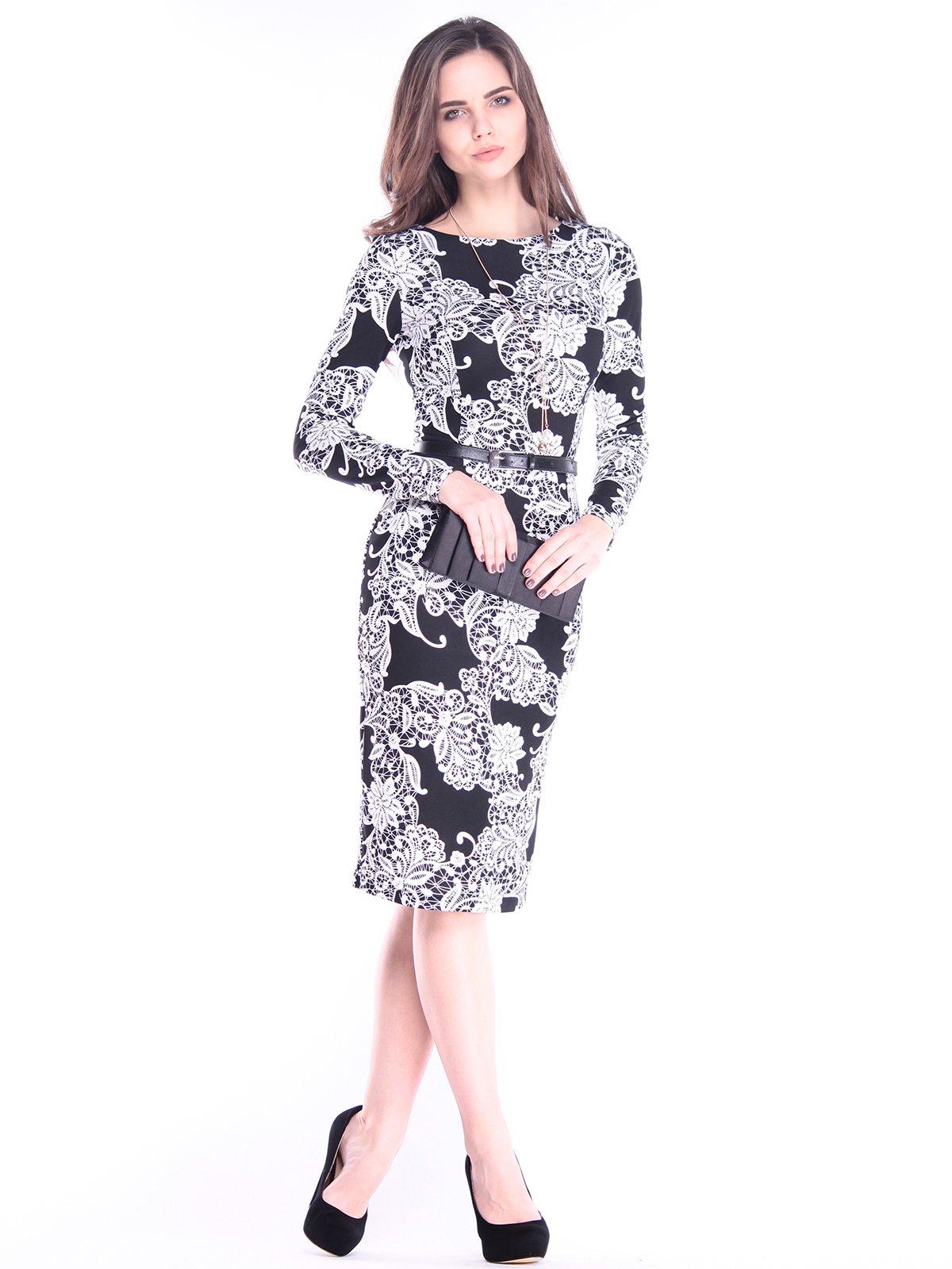 Платье в принт с поясом | 2996612
