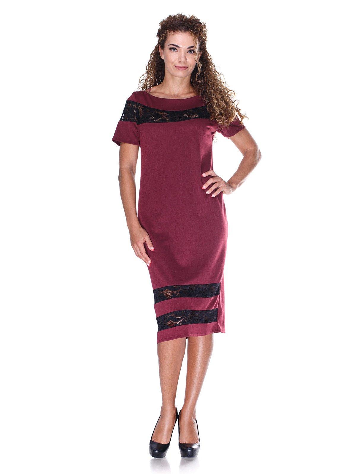 Сукня бордова з мереживними вставками | 3384759