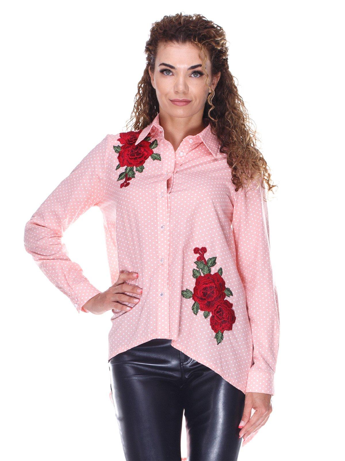 Персикова котонова сорочка в горох з вишивкою | 3366129