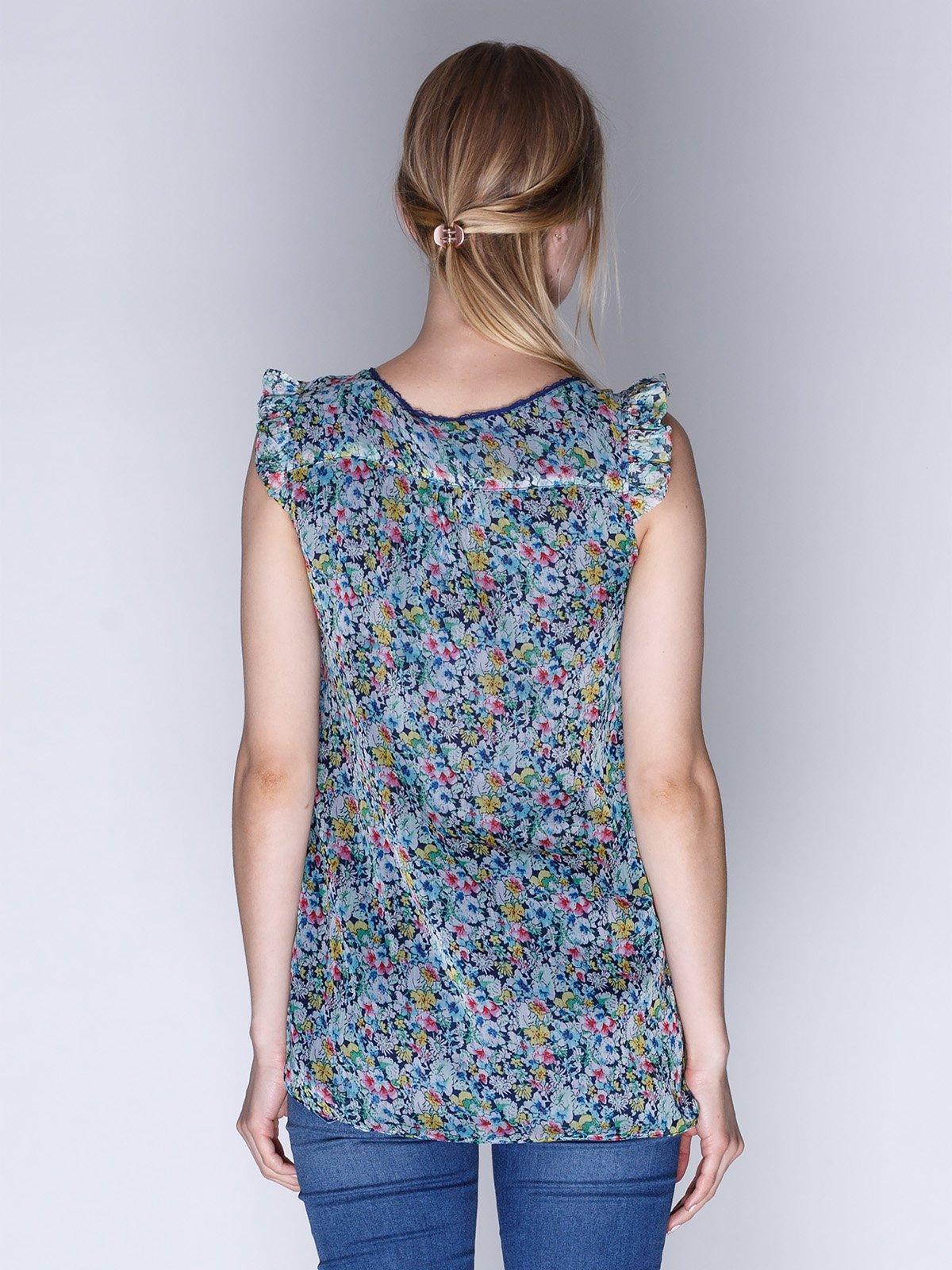 Блуза синя в квітковий принт   1899403   фото 2