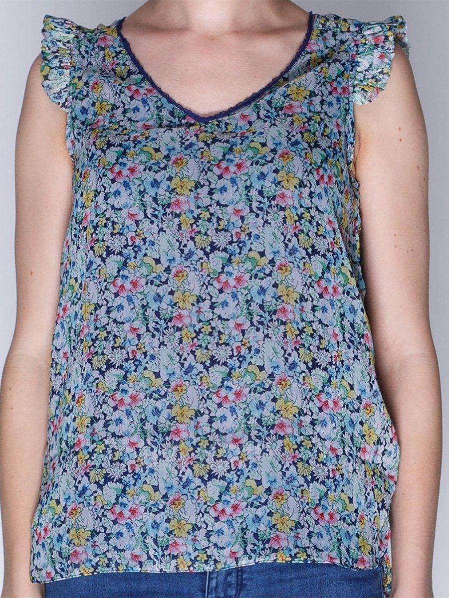 Блуза синя в квітковий принт   1899403   фото 3