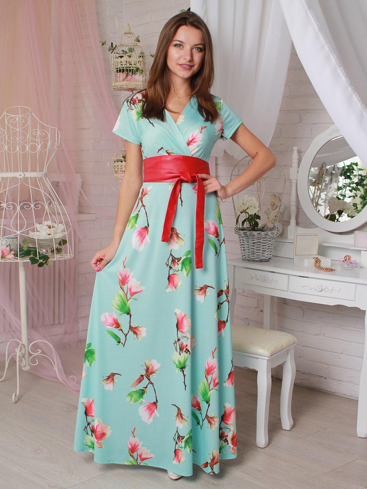 Платье ментолового цвета в цветочный принт   3423842