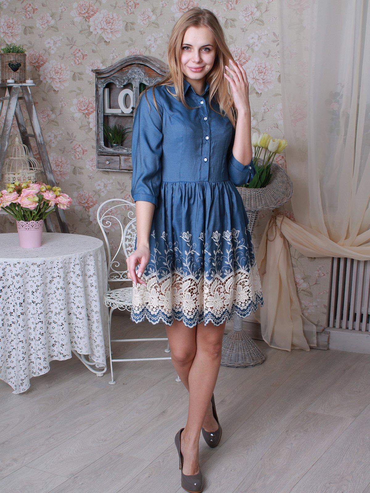 Платье синее с вышивкой | 3383923