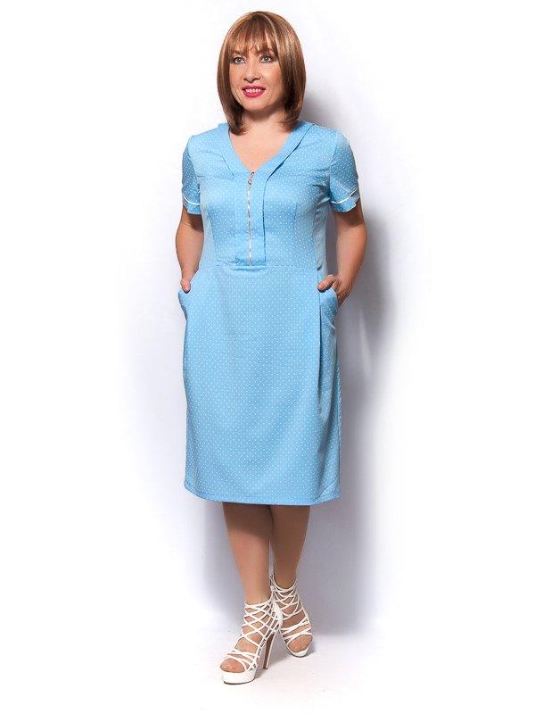 Сукня блакитна в горох | 3436352