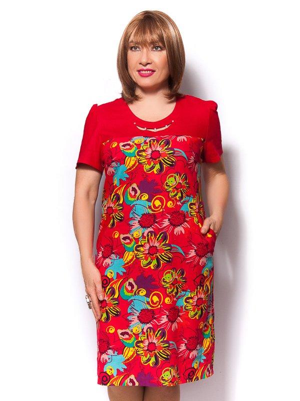 Платье красное с цветочным принтом   3436372