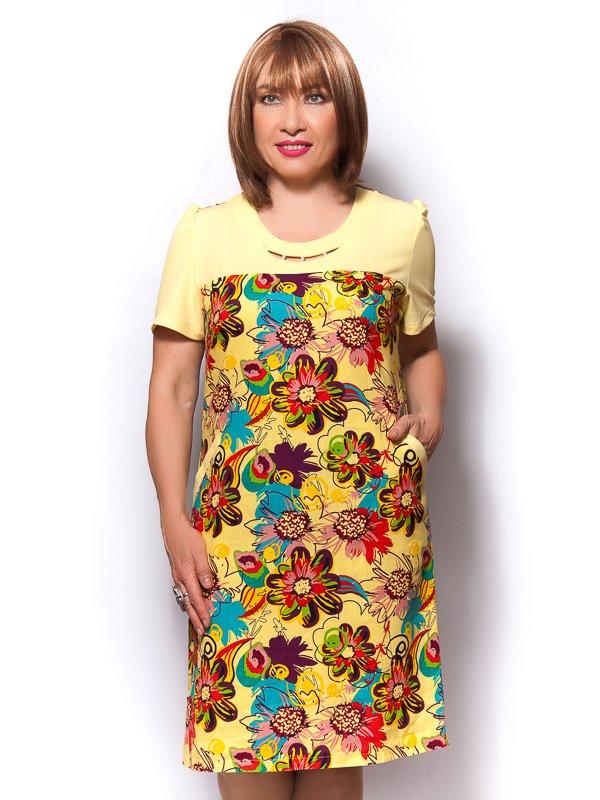 Сукня жовта з квітковим принтом | 3436373