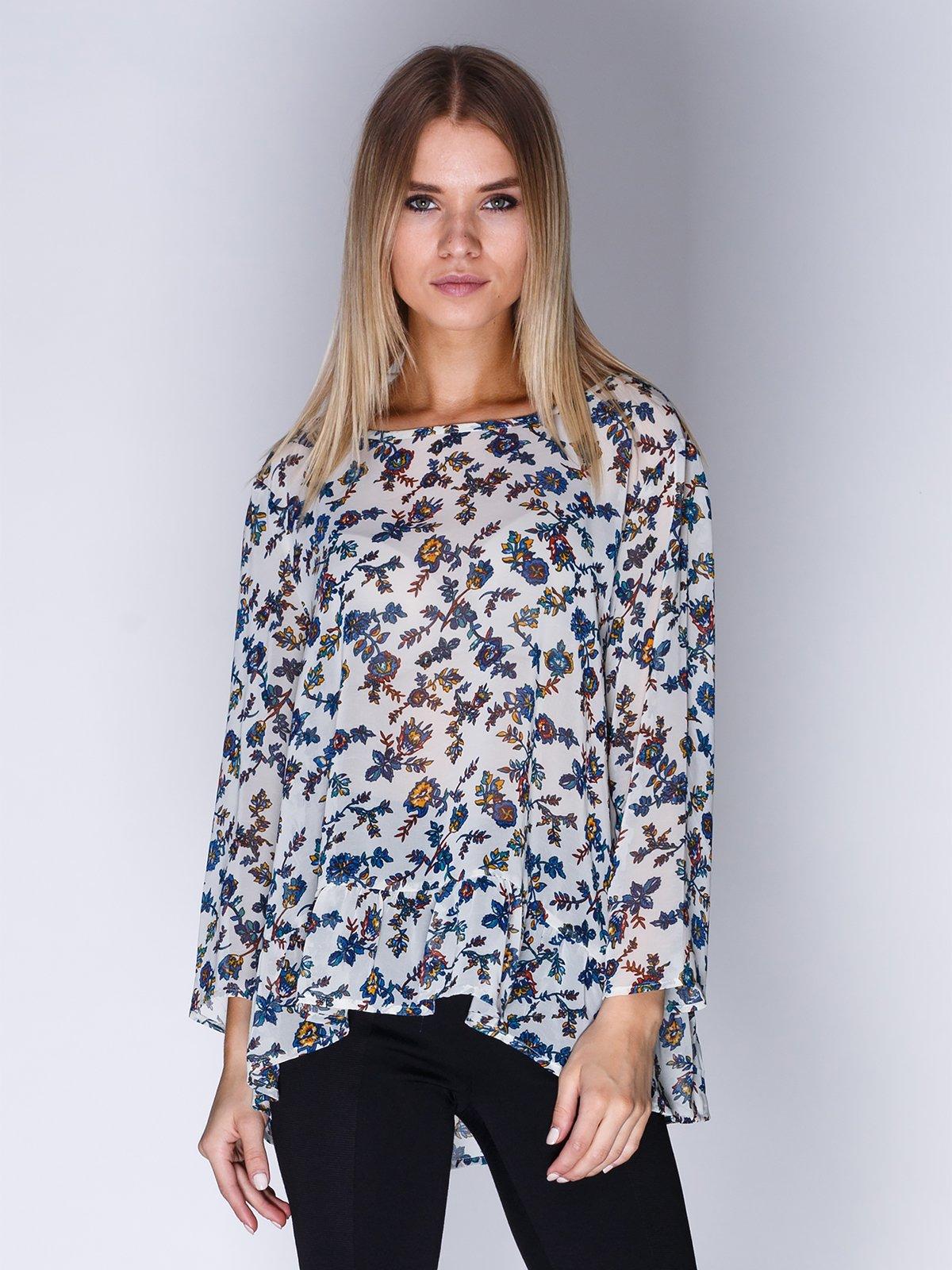 Блуза біла в квітковий принт | 1899417