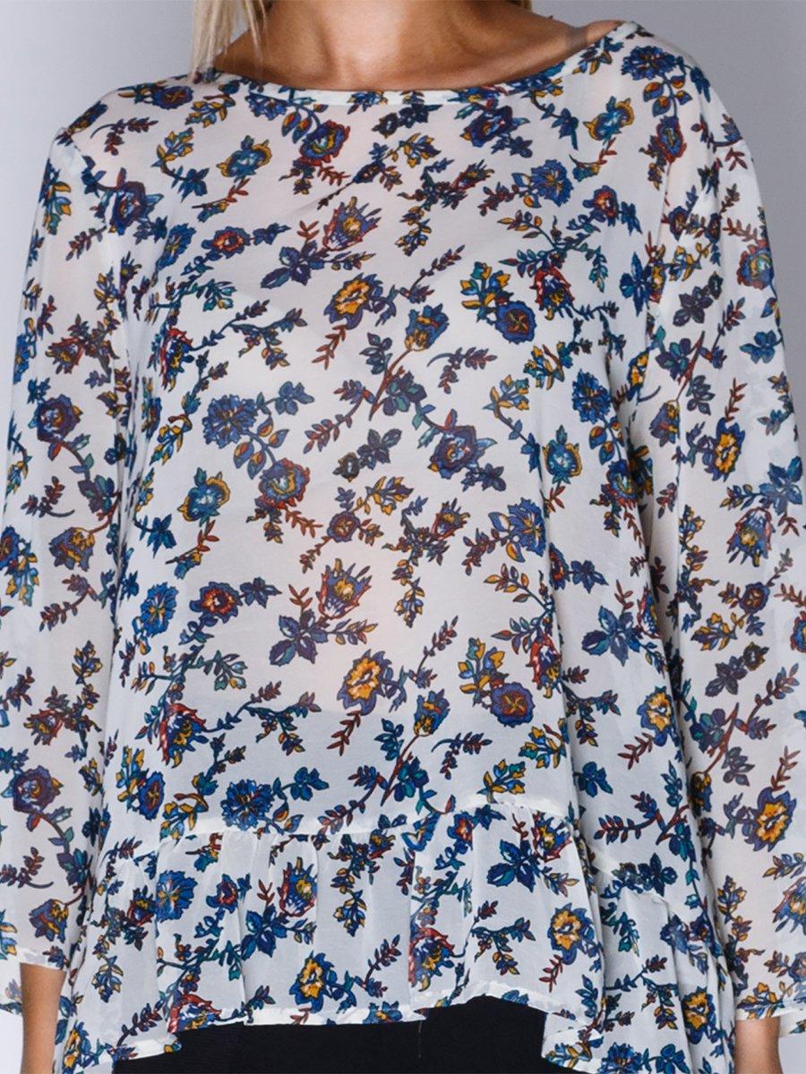 Блуза біла в квітковий принт | 1899417 | фото 3