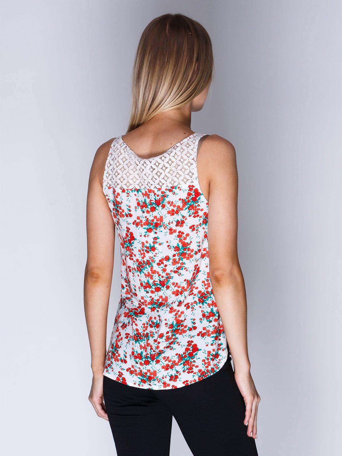 Блуза біла в квітковий принт | 1899379 | фото 2