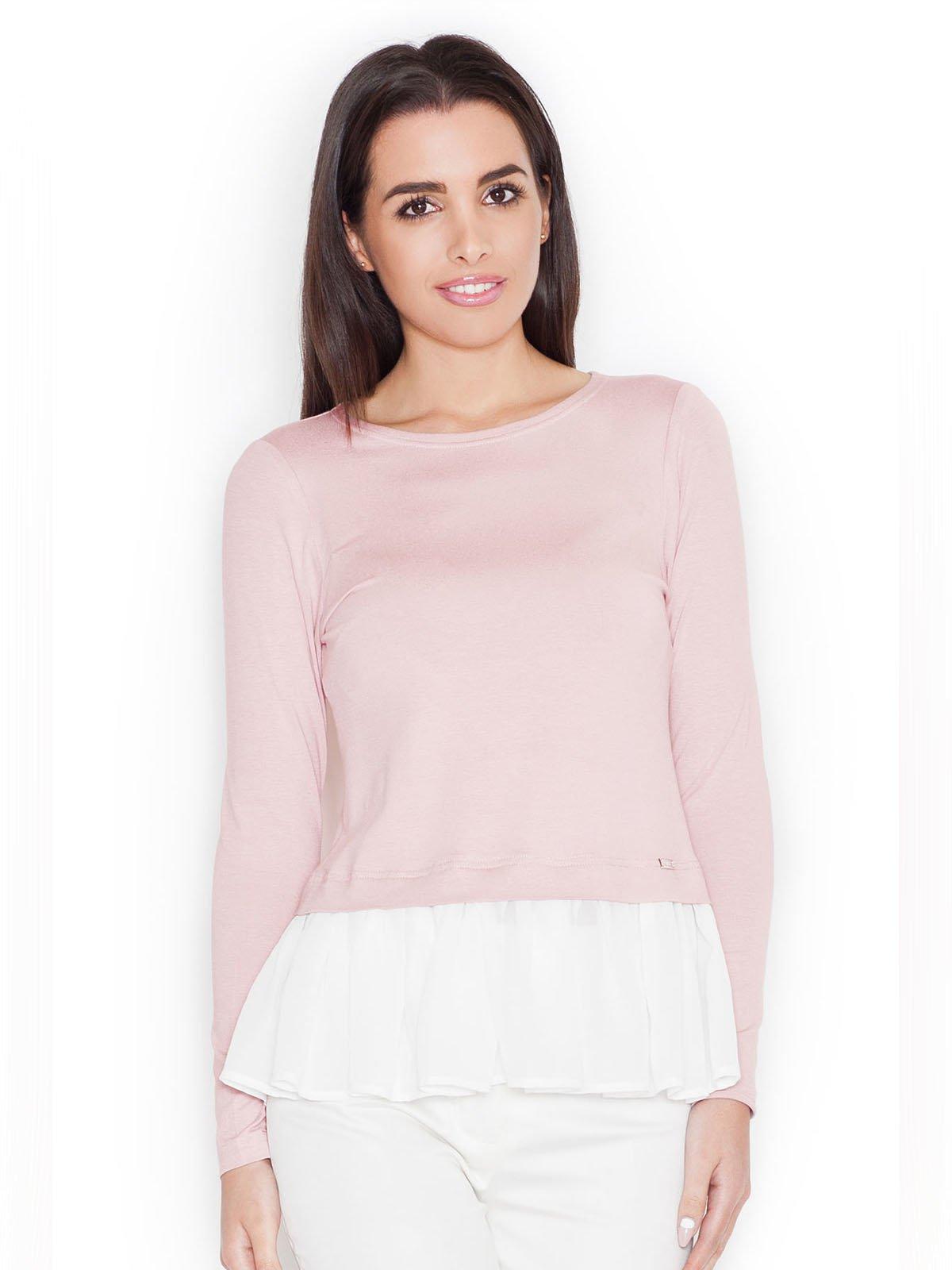 Лонгслів рожево-білий | 3458674