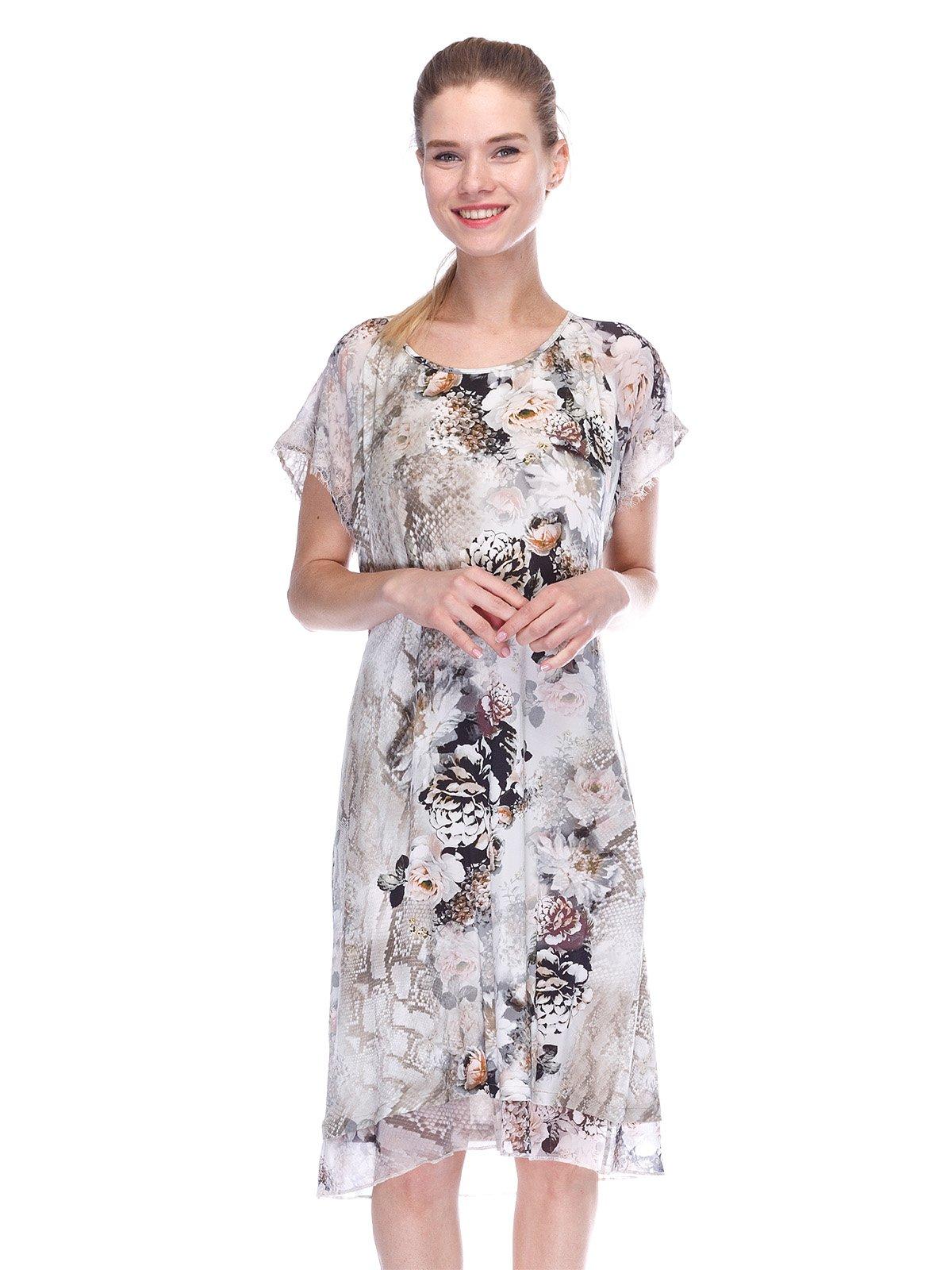 Платье серое в принт | 3455619
