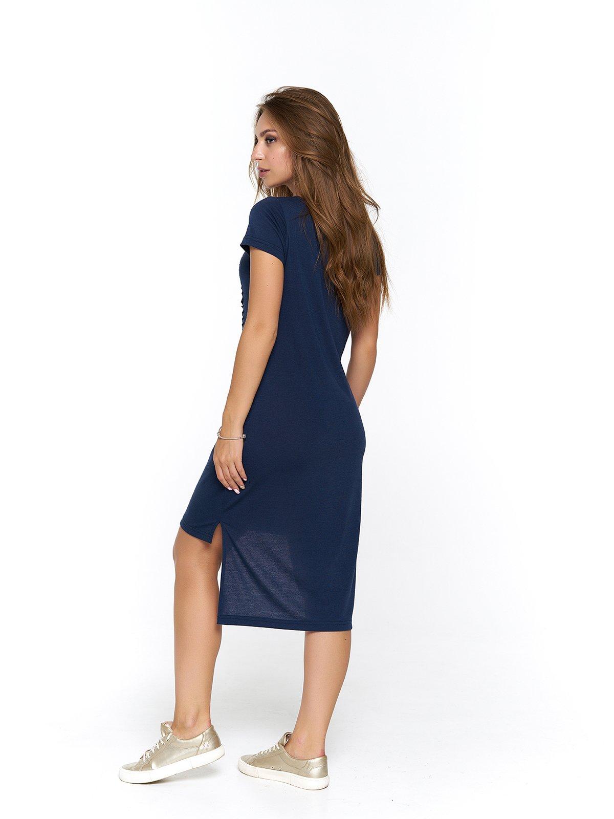 Платье синее с принтом | 3475040 | фото 2