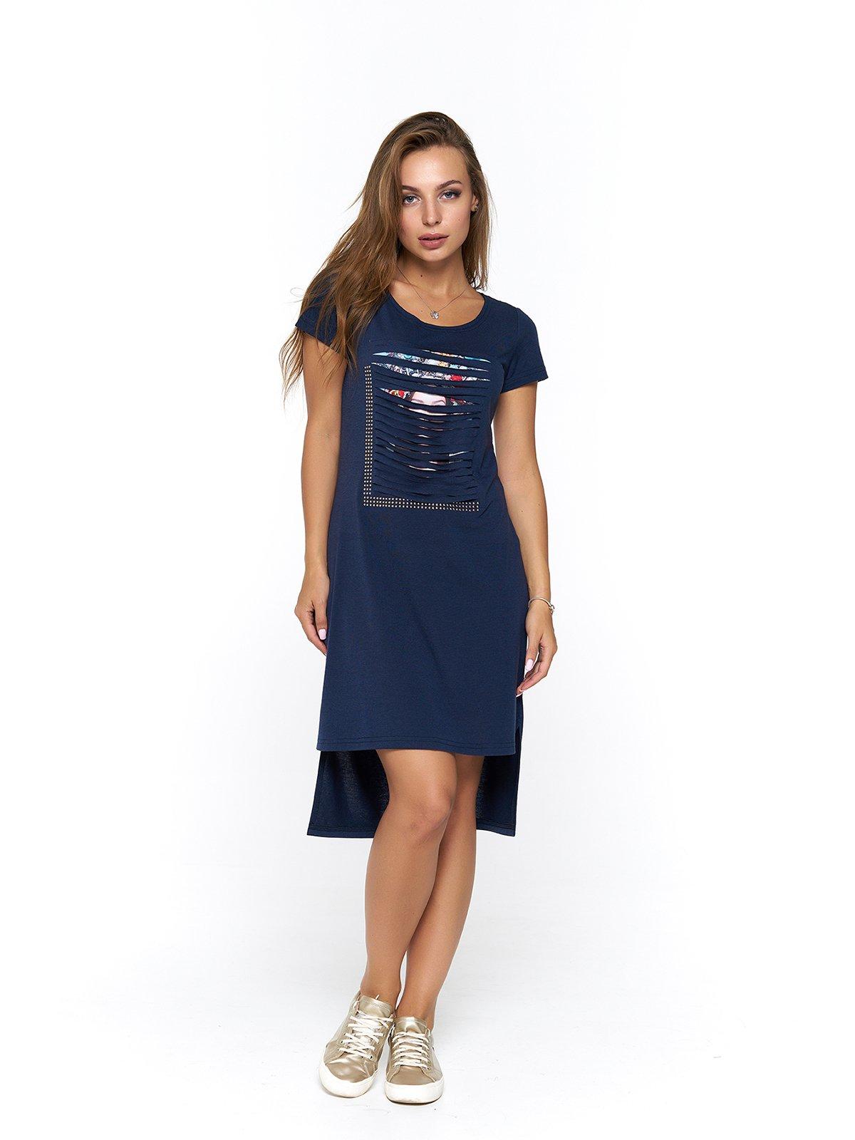 Сукня синя з принтом | 3475042