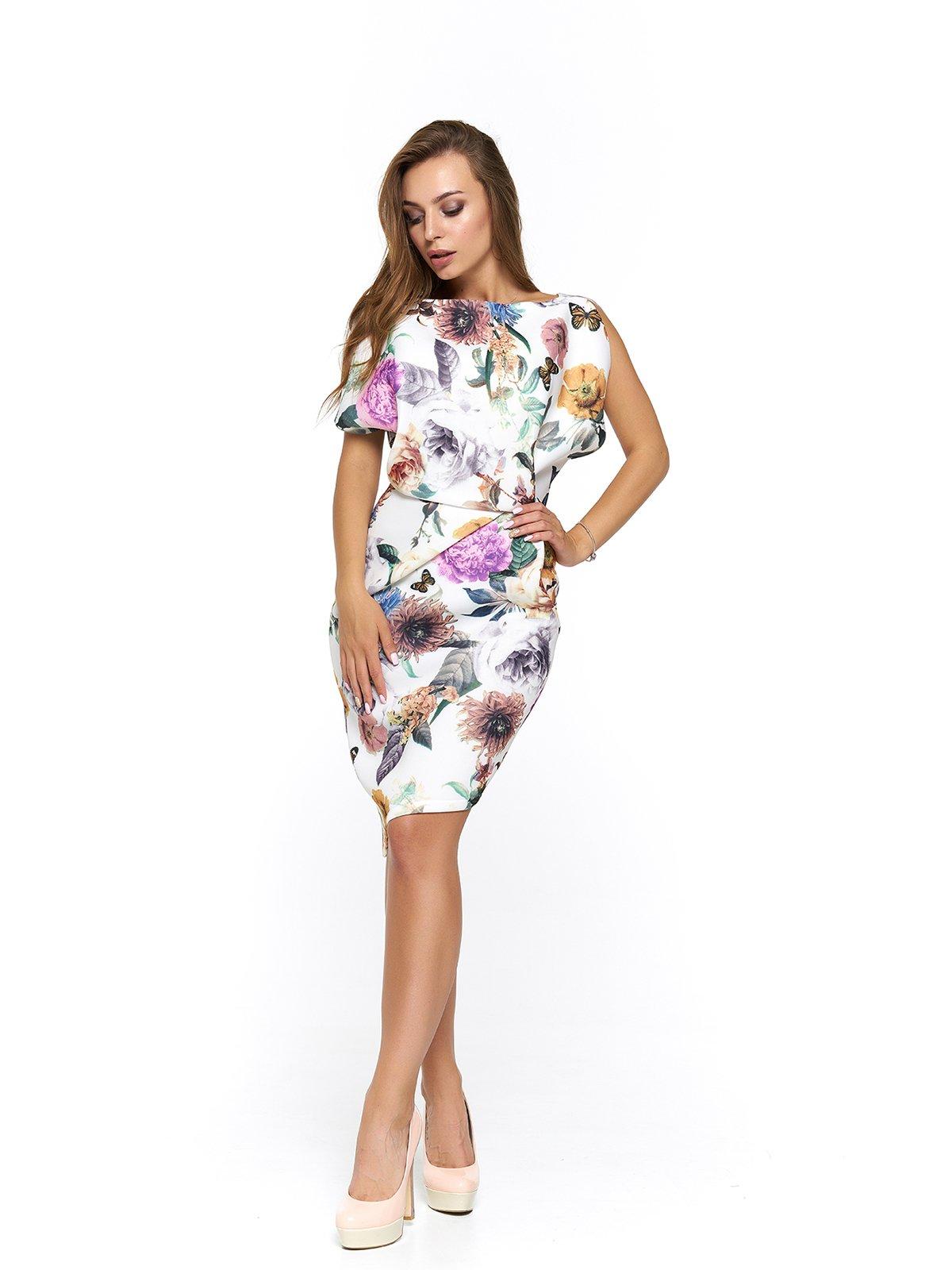 Сукня біла з квітковим принтом | 3474947
