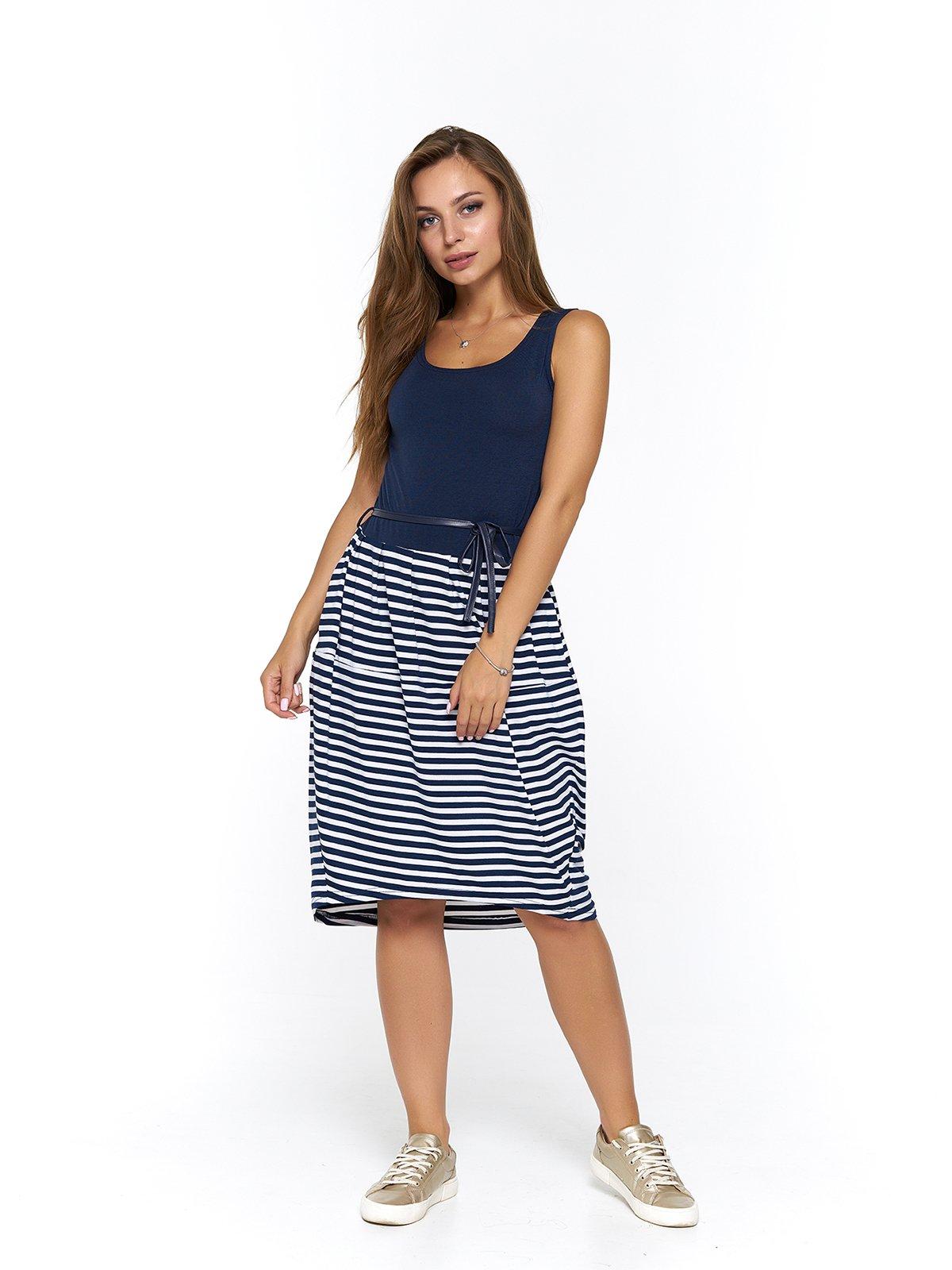 Платье синее в полоску | 3475048