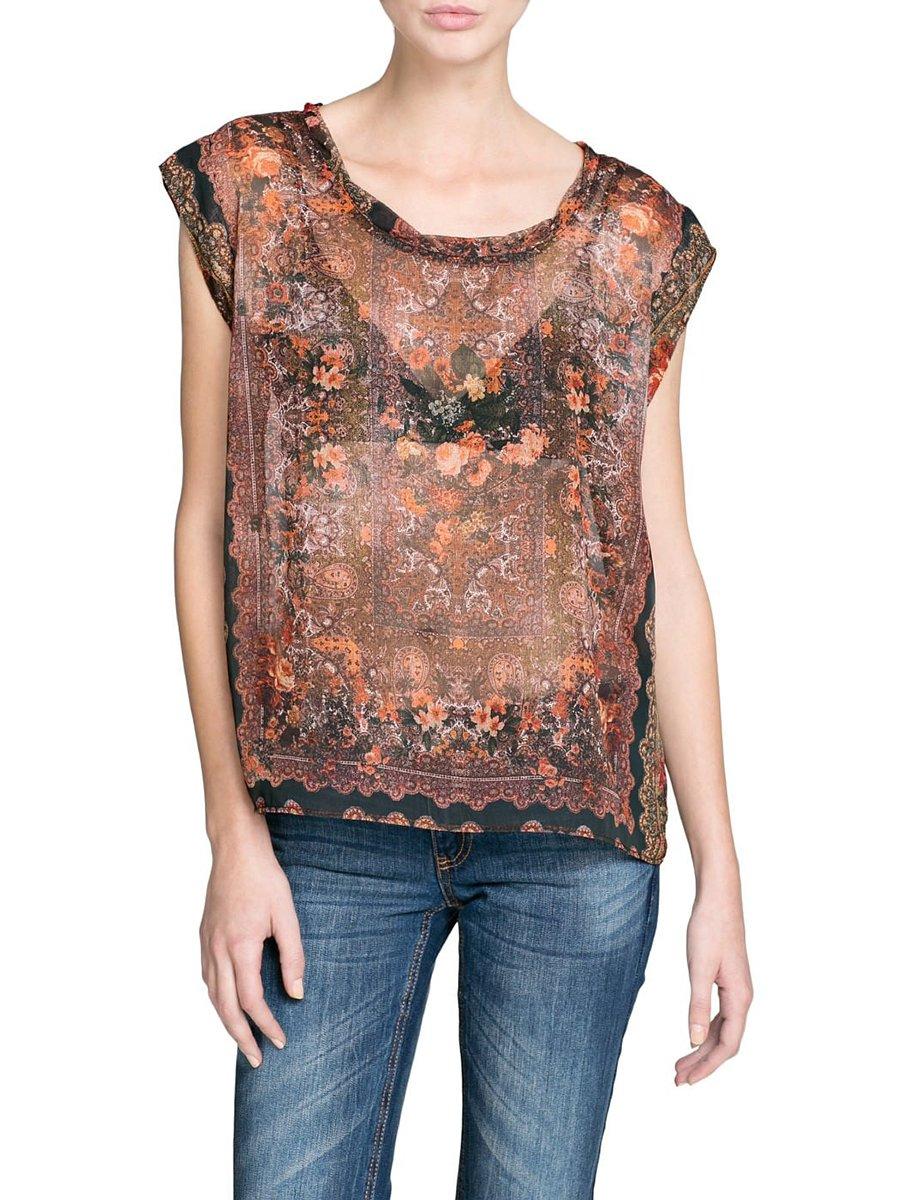 Блуза коричневая в принт   2353823