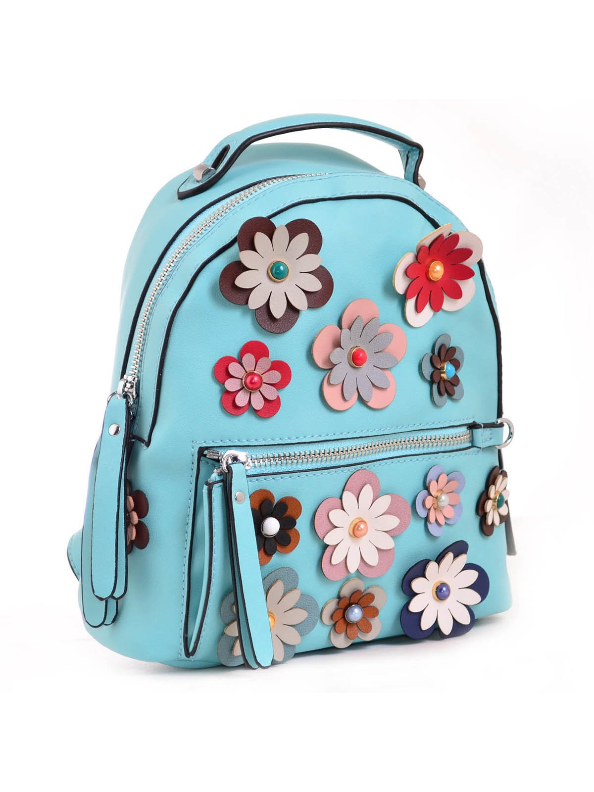 Рюкзак бірюзовий з декором | 3492478