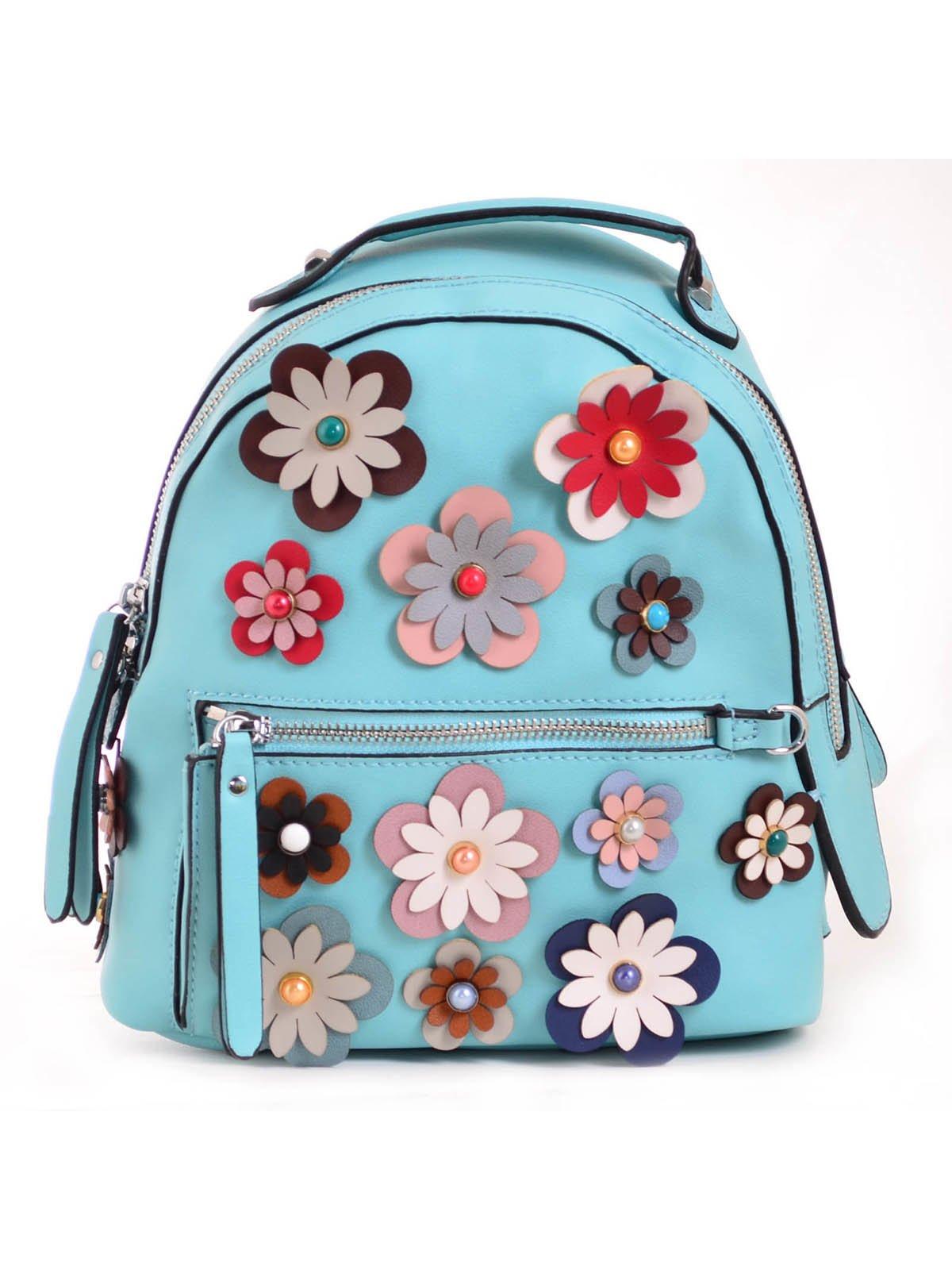 Рюкзак бірюзовий з декором | 3492478 | фото 2