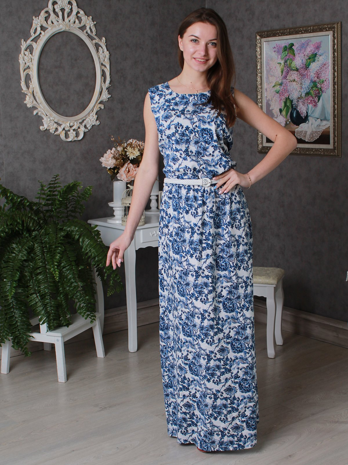 Платье синее в цветочный принт | 3497963