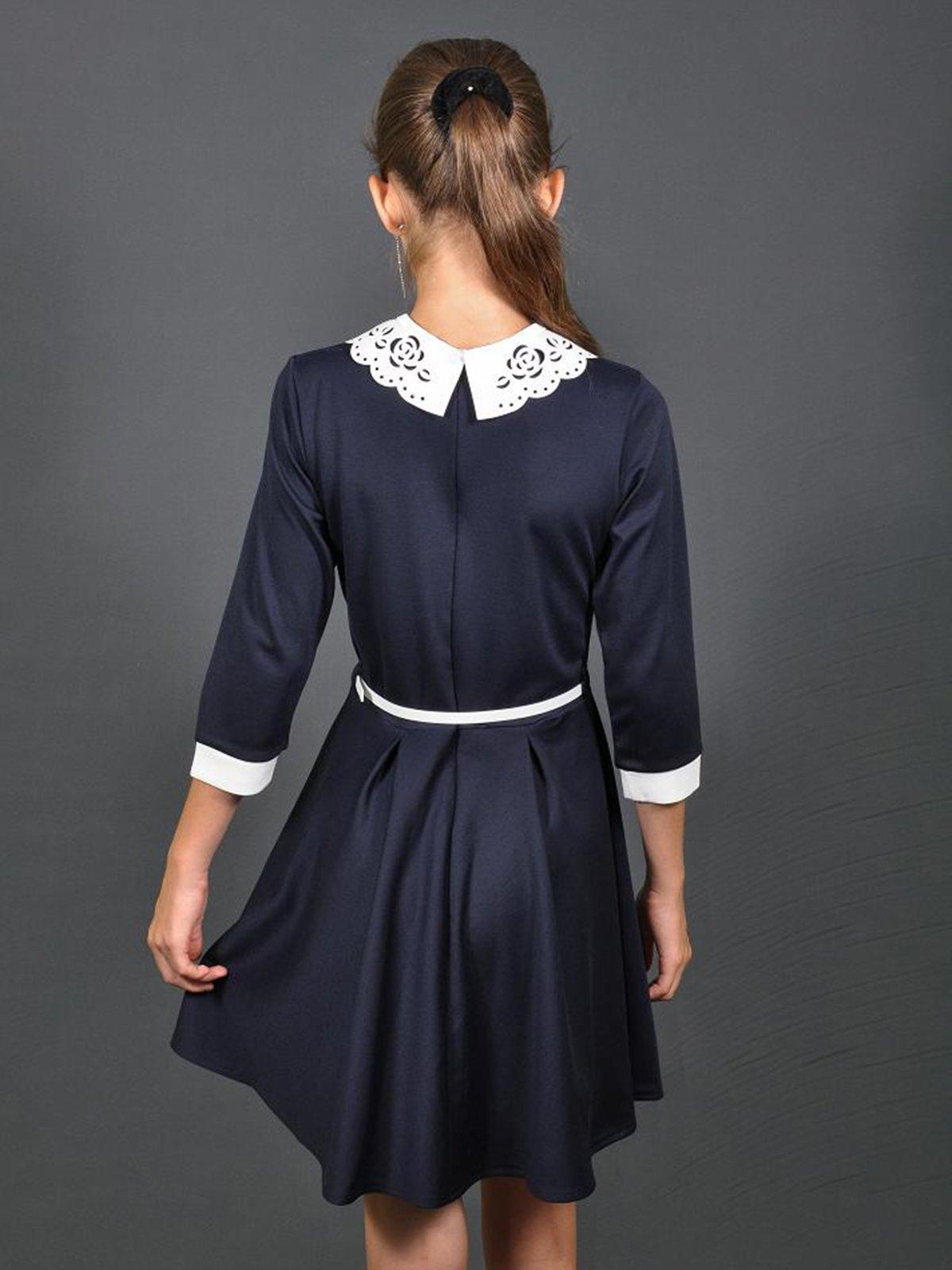 Платье синее со съемным ажурным воротником   3435611   фото 2