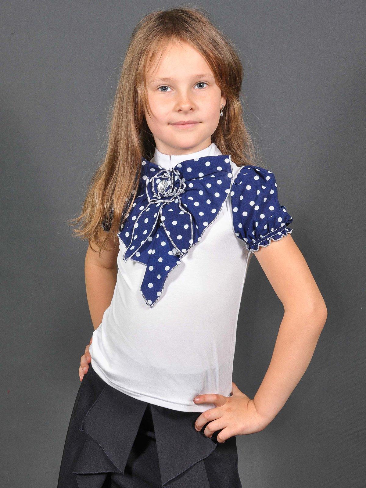 Блуза бело-синяя в горох | 3468494