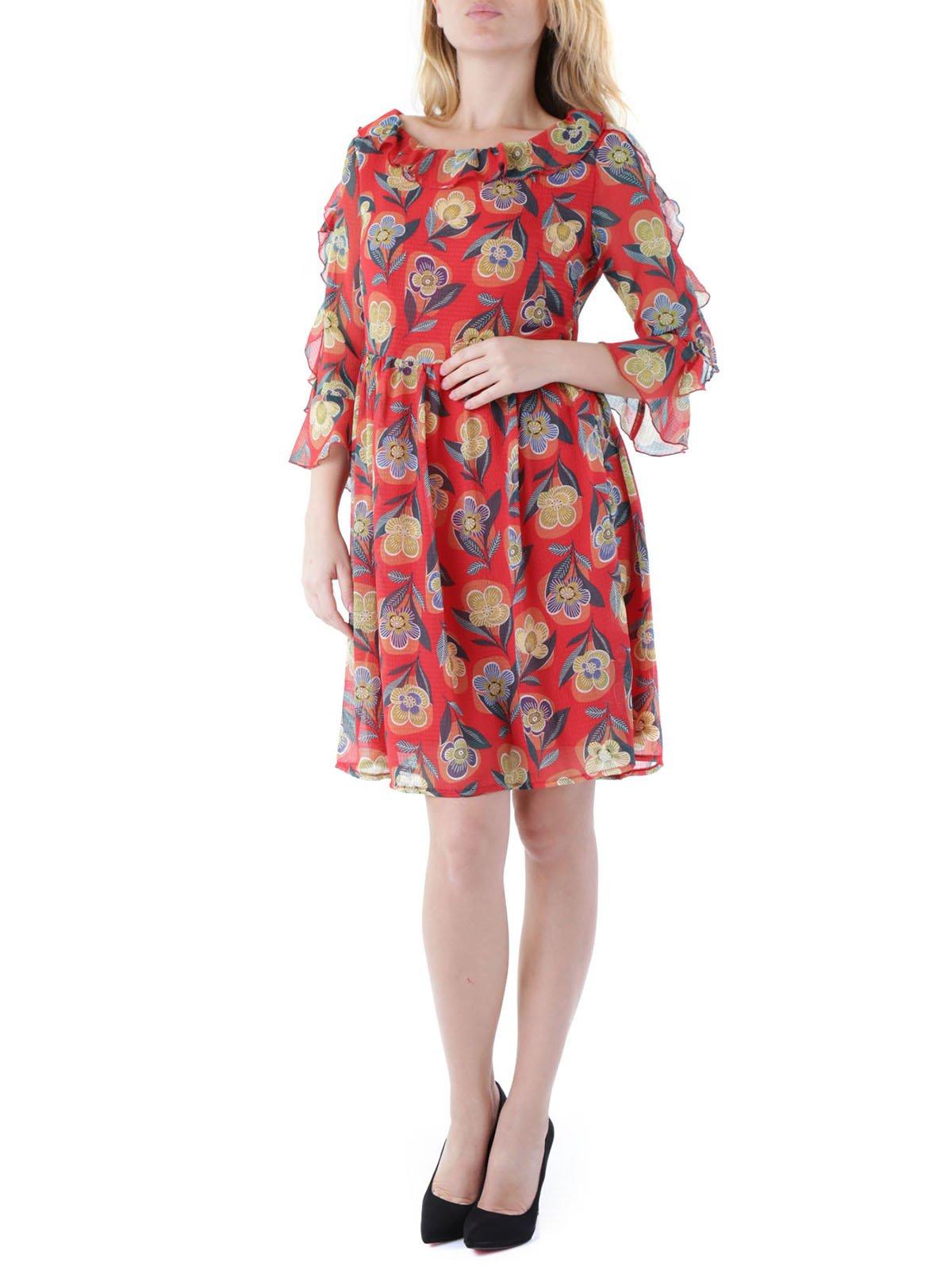 Платье красное в цветочный принт   3503940