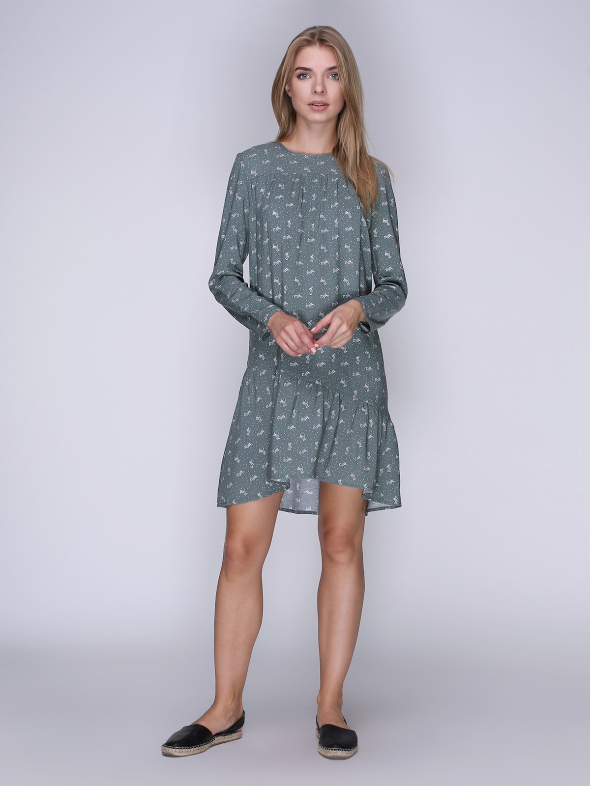 Платье цвета хаки с зебрами | 3505199