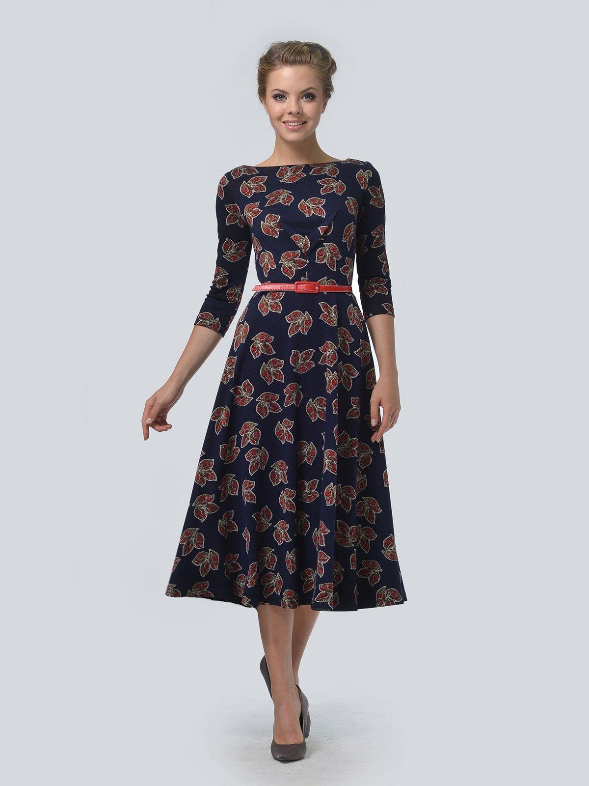 Платье синее в цветочный принт | 3505454