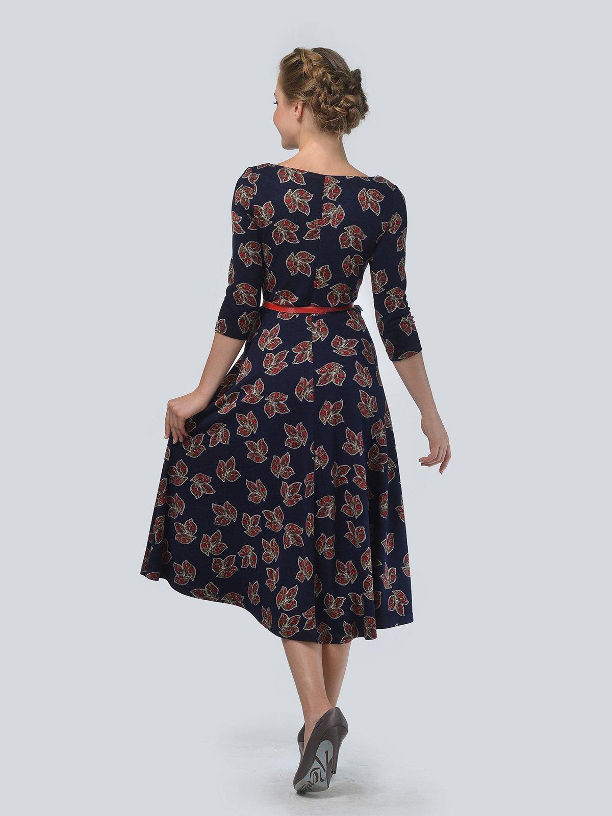 Платье синее в цветочный принт | 3505454 | фото 2