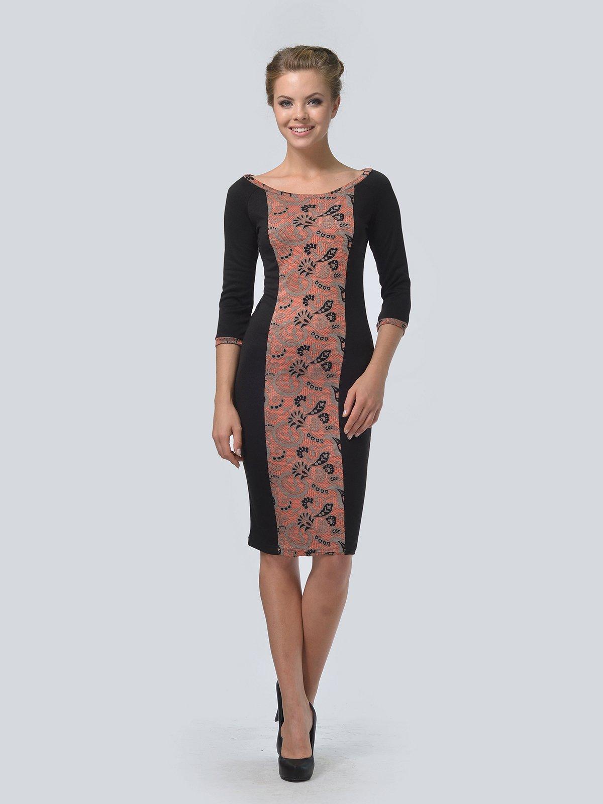 Платье черное в принт | 3505476