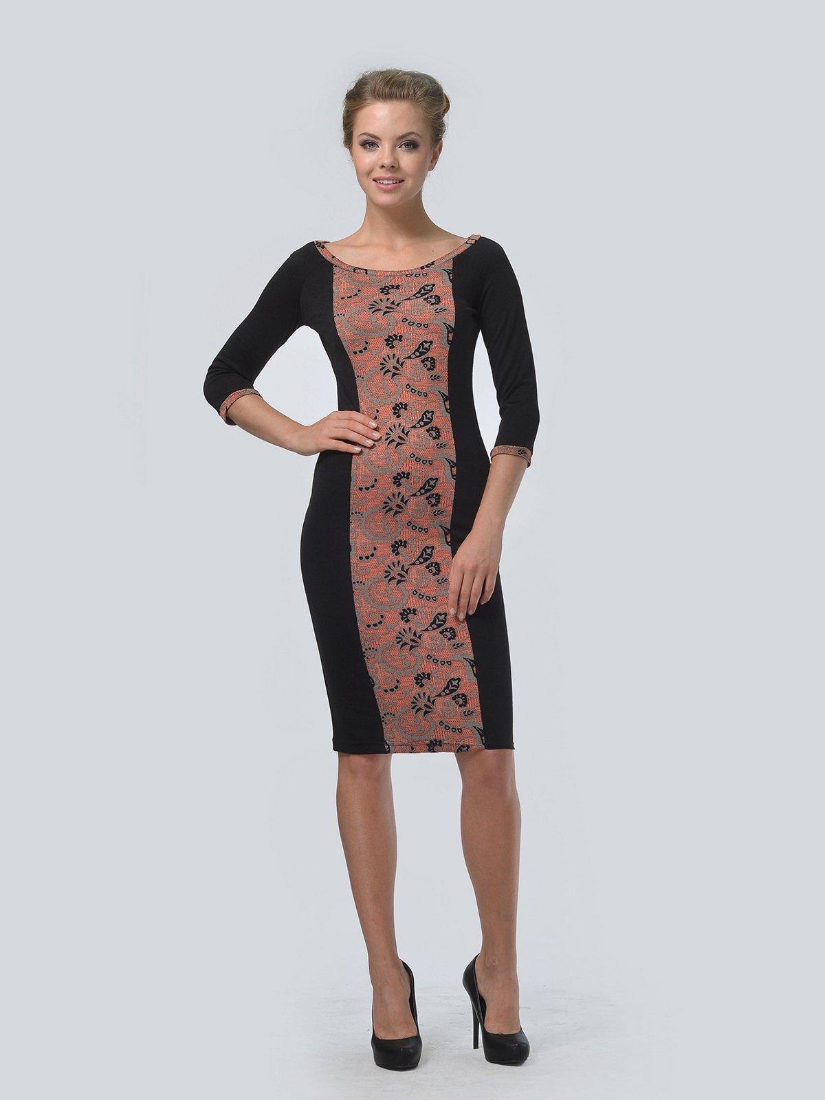 Платье черное в принт | 3505476 | фото 2