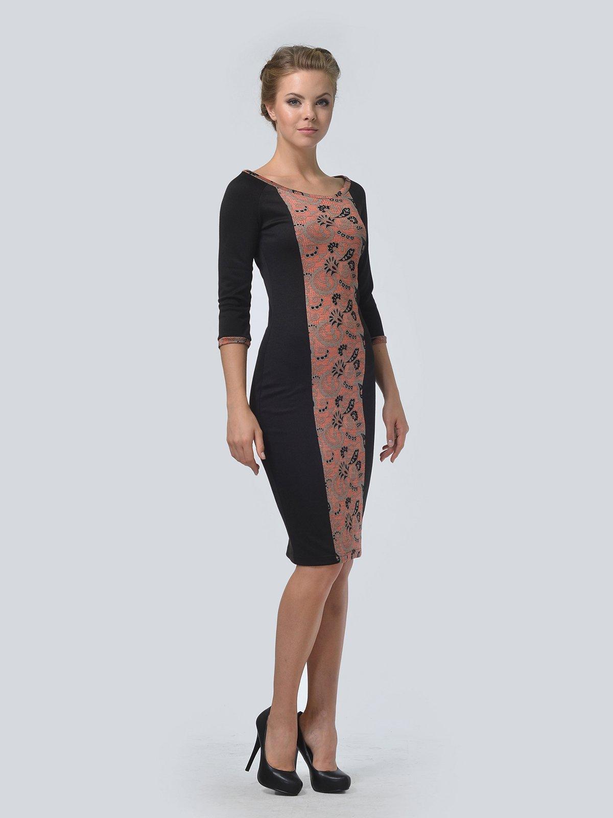 Платье черное в принт | 3505476 | фото 3