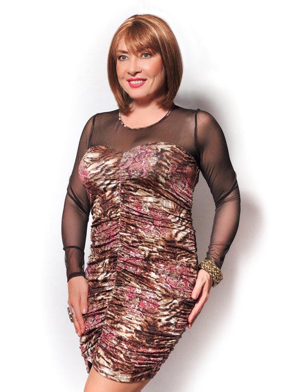 Платье коричневое с принтом   3491345