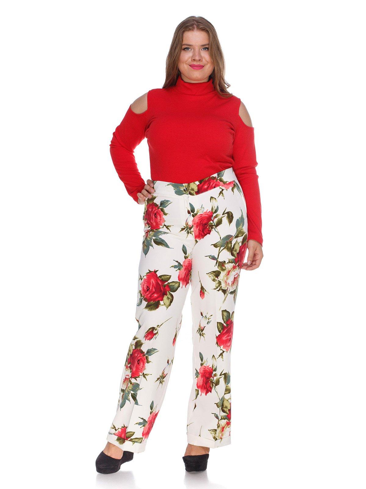 Штани білі з квітковим принтом | 3328749