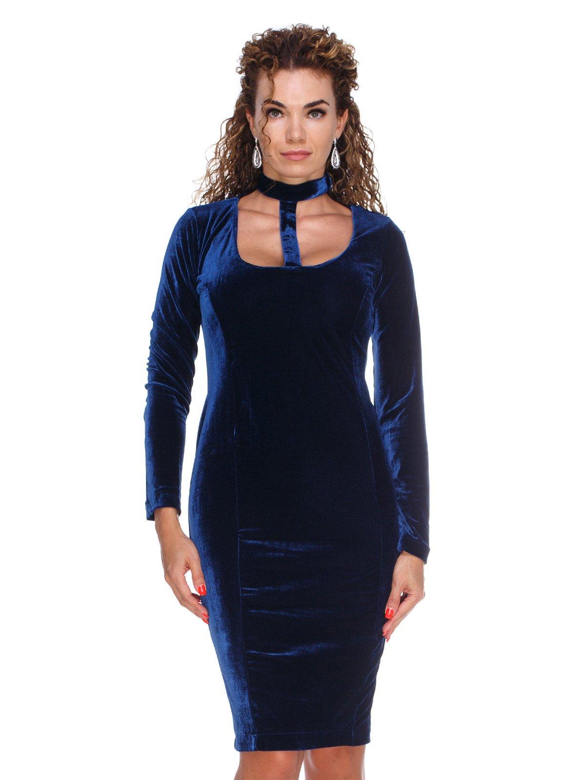 Сукня оксамитова темно-синя | 3130153