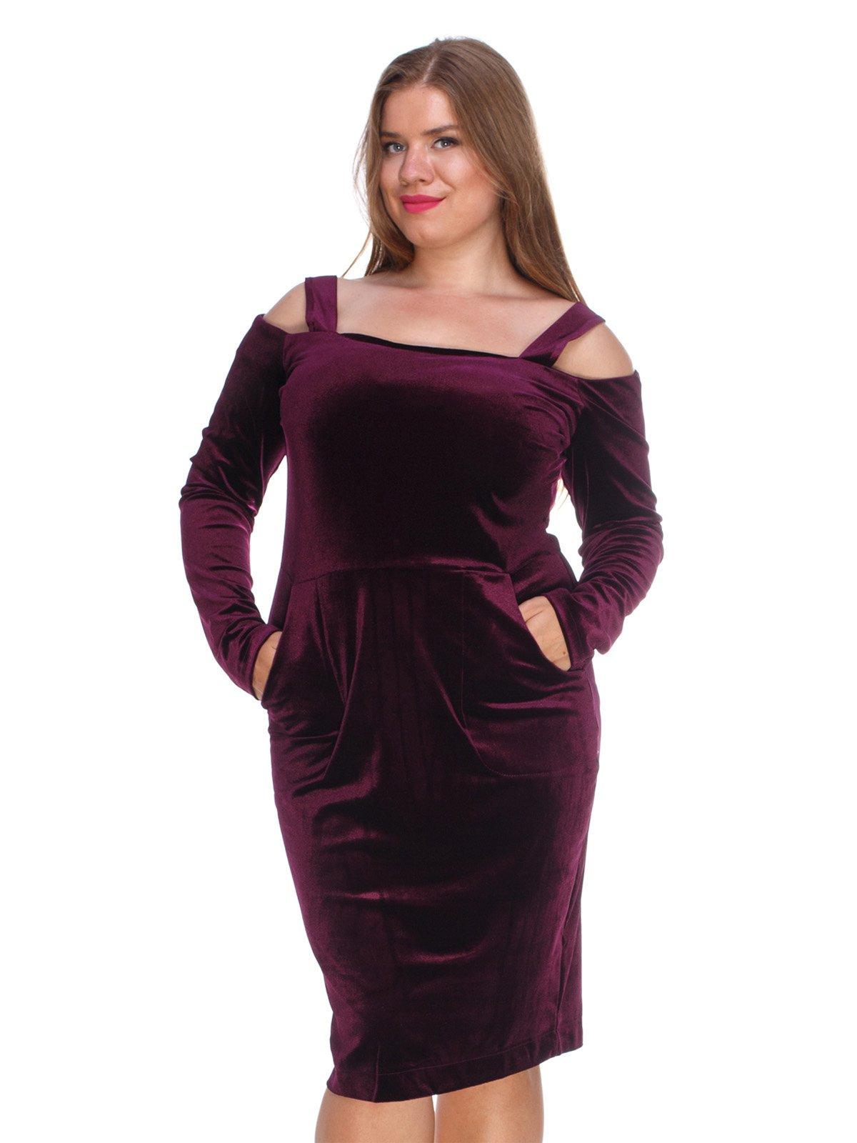 Сукня оксамитова фіолетова | 3130160