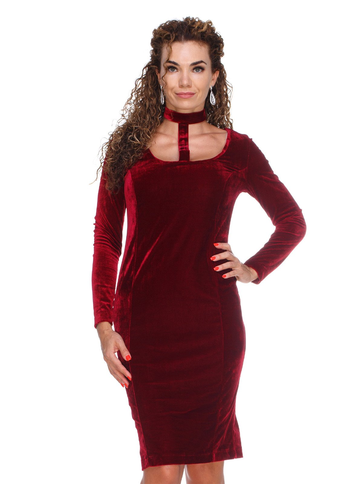Платье бархатное темно-вишневое | 3132073