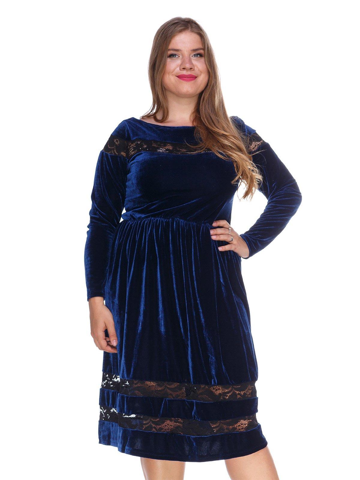 Сукня оксамитова темно-синя | 3202221