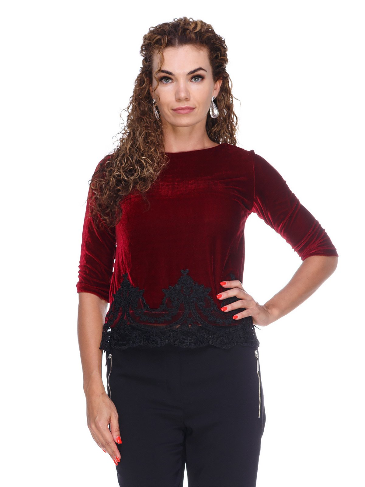 Блуза оксамитова чорна | 3158712