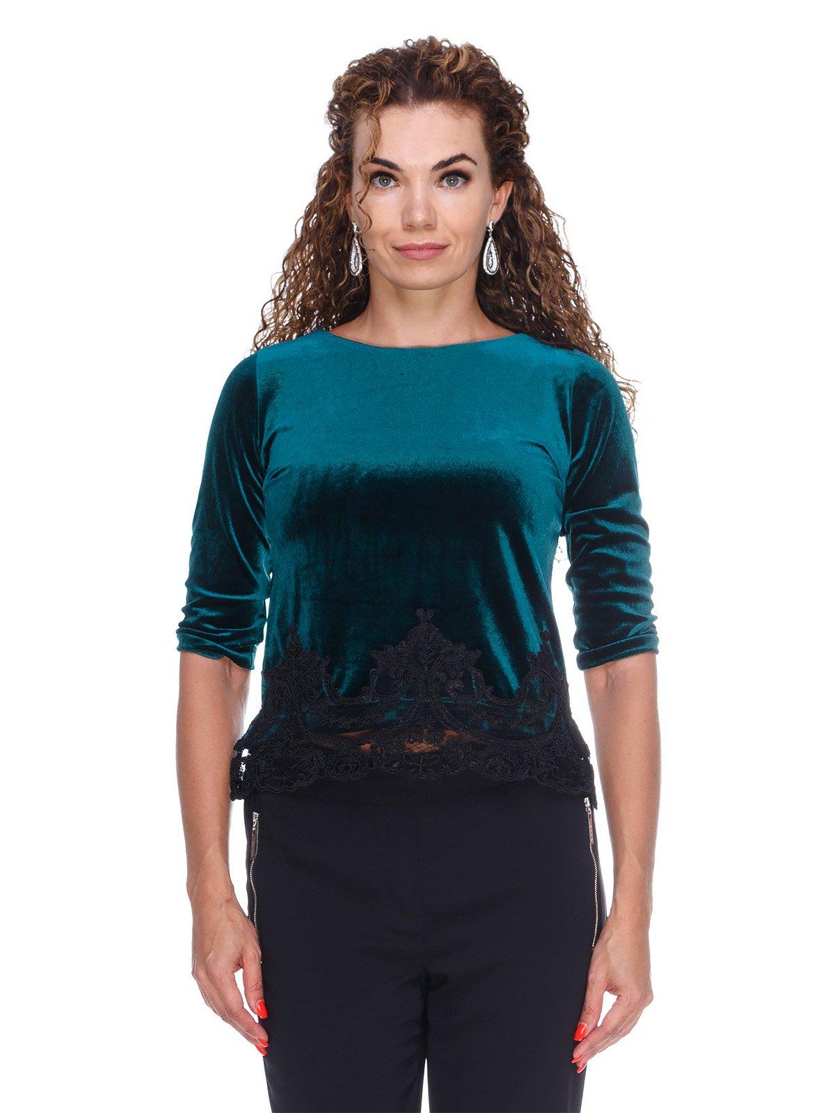 Блуза оксамитова смарагдова | 3158714