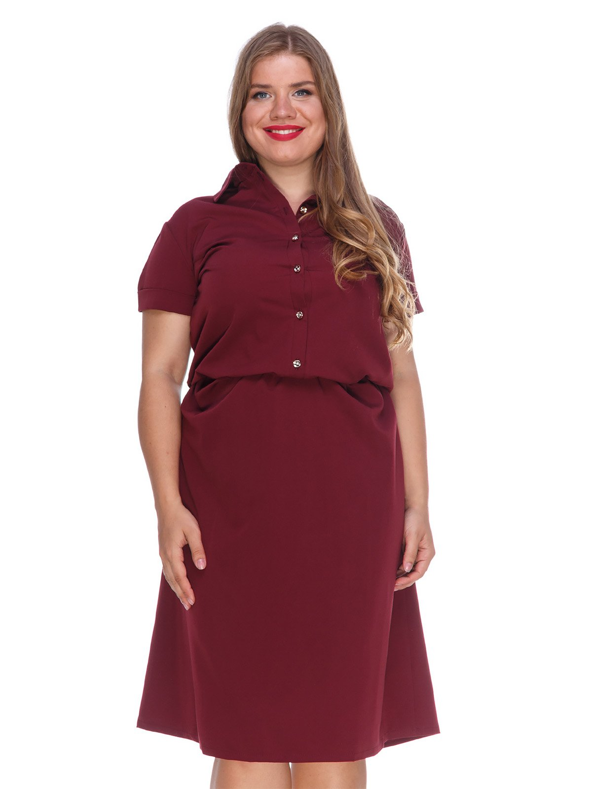Сукня кольору марсала зі зручним поясом на резинці | 3315327