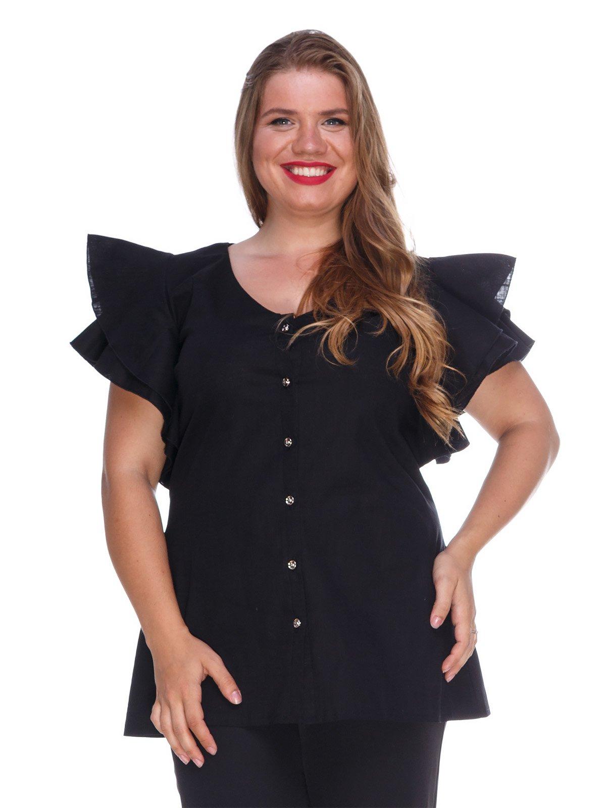 Блуза з льону чорна | 3315337