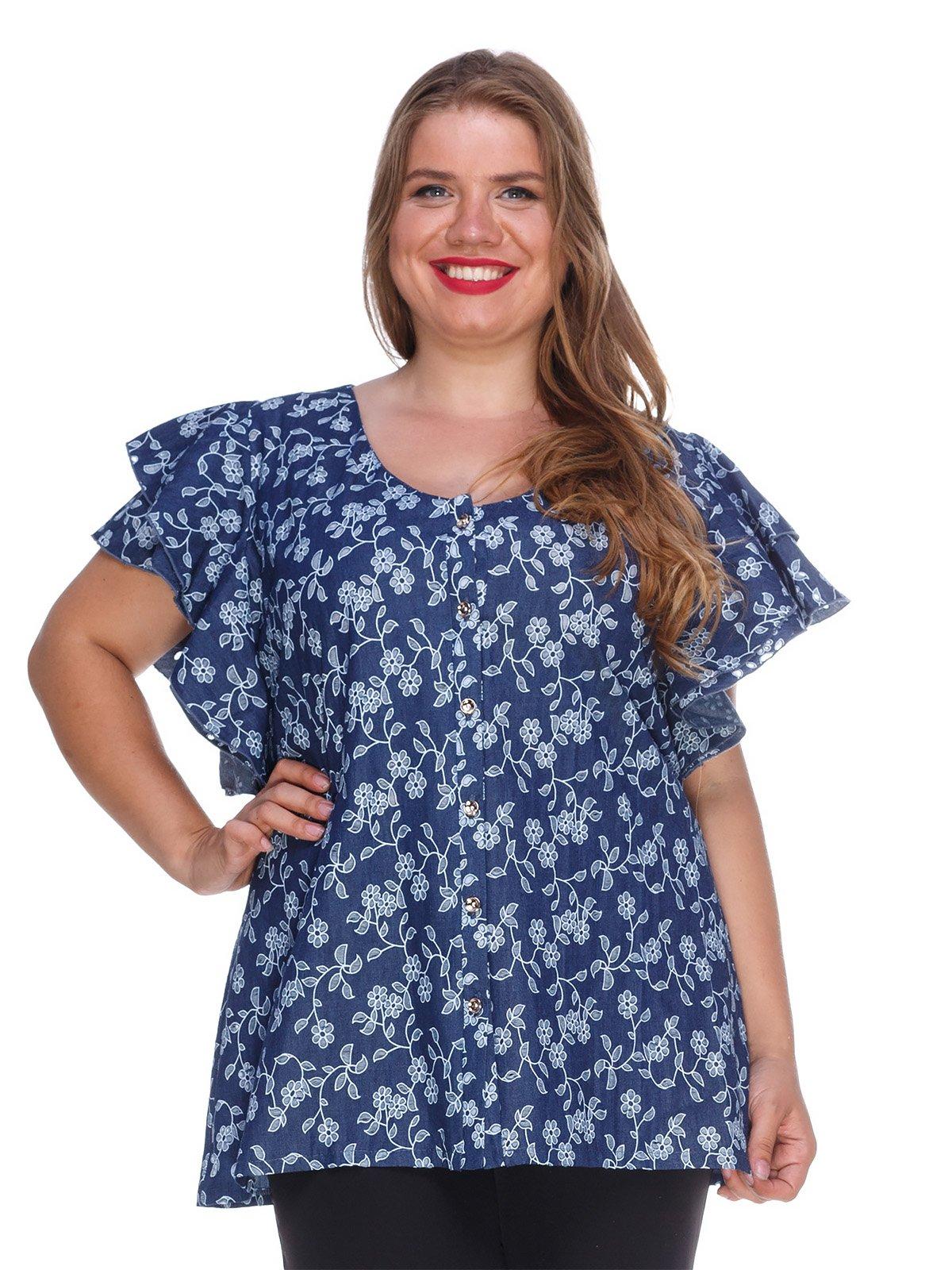 Блуза з легкого джинса з квітковою перфорацією | 3315342