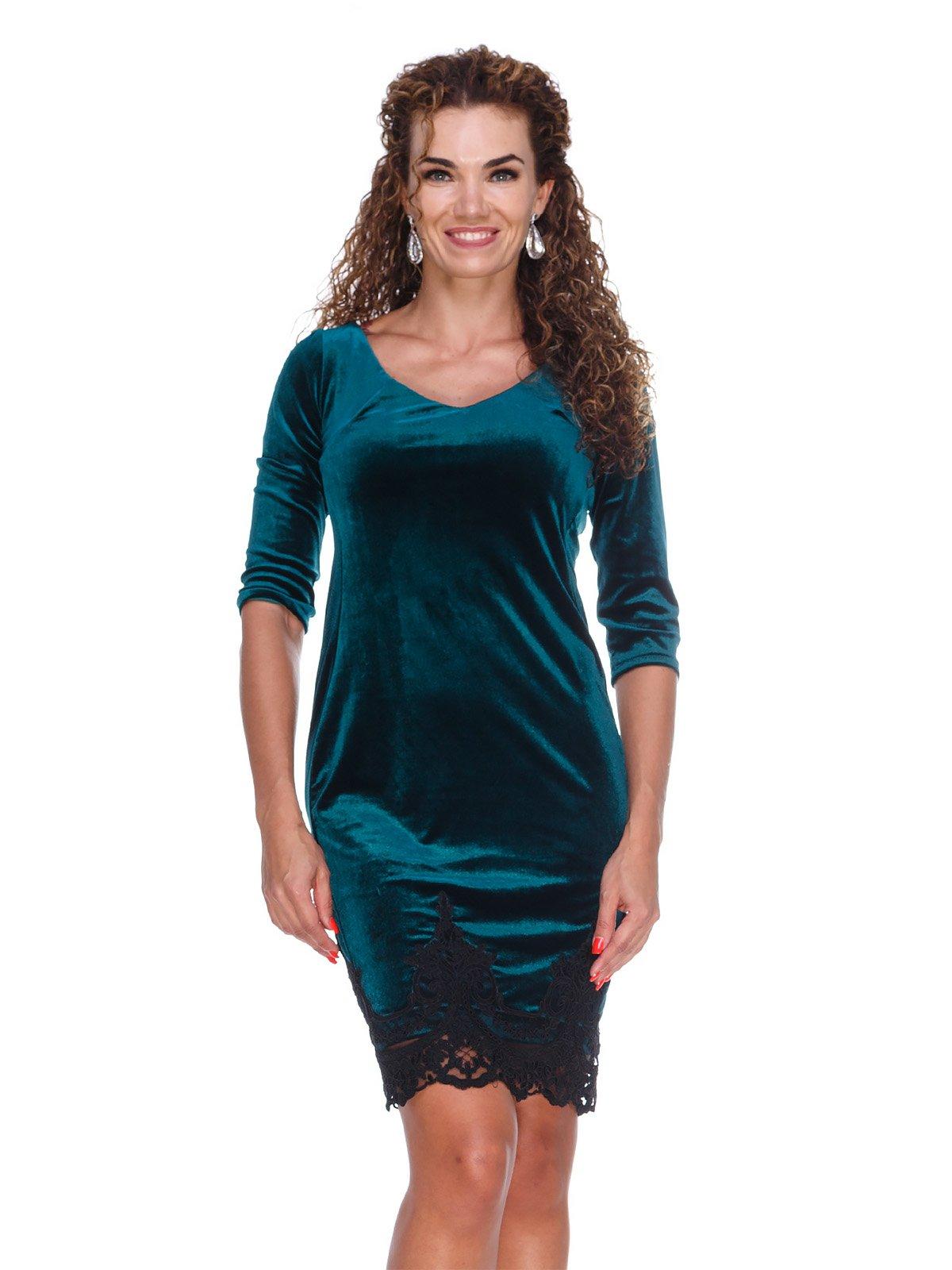 Сукня оксамитова смарагдового кольору | 3130132