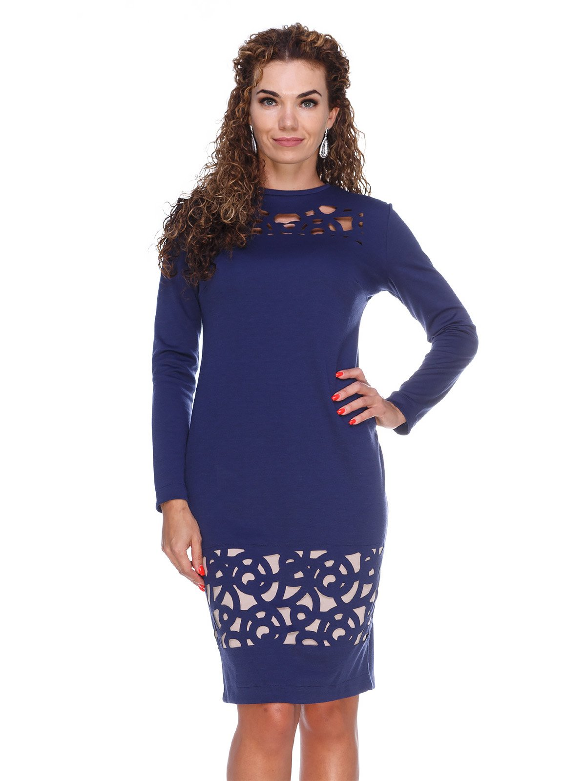 Сукня темно-синя з перфорацією | 3046179