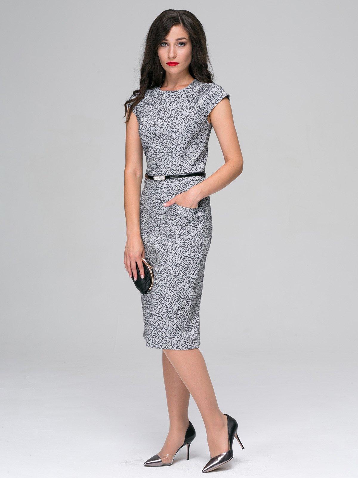 Платье серое с принтом | 3527652