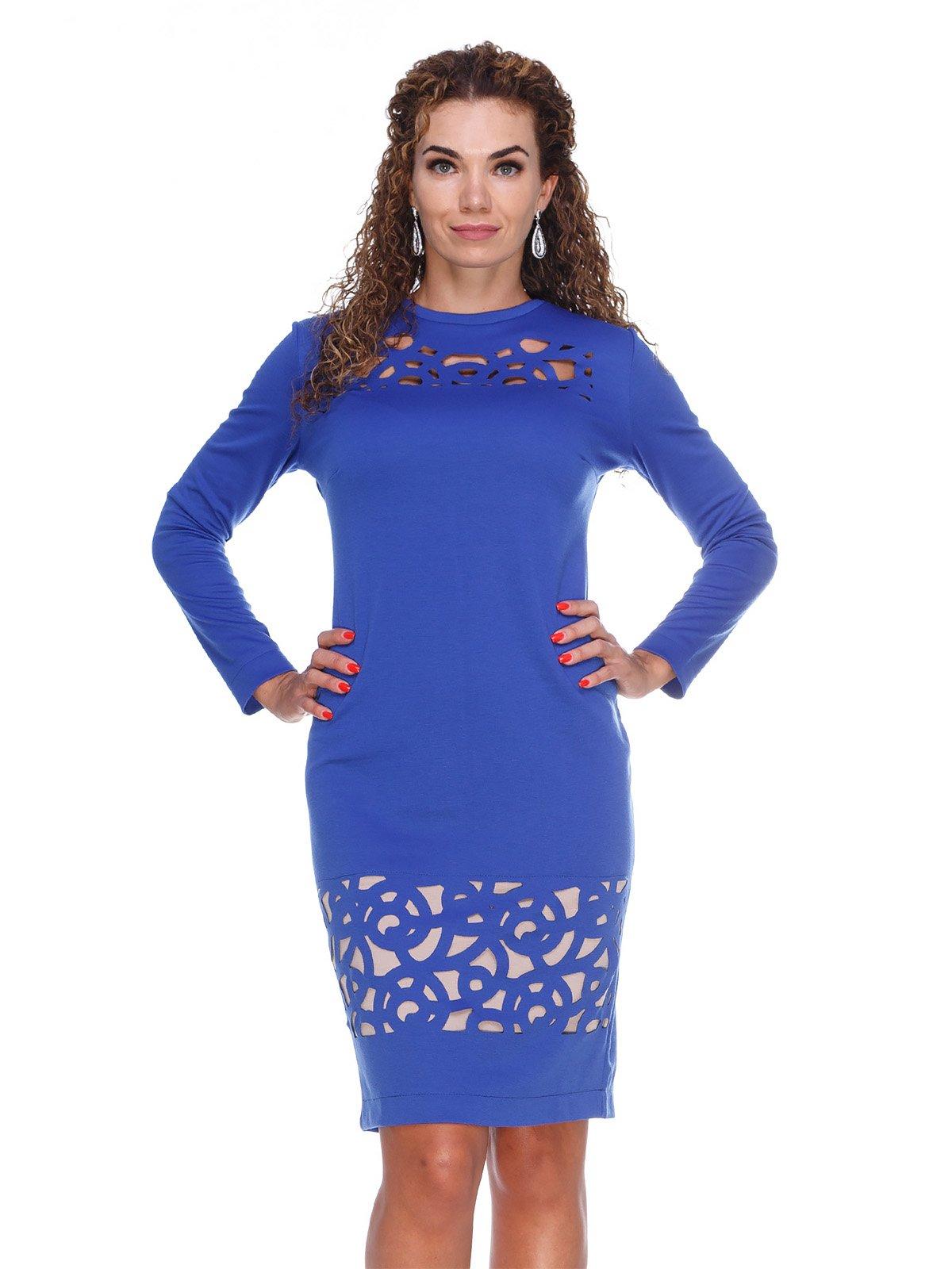 Сукня кольору електрик з перфорацією | 3068007