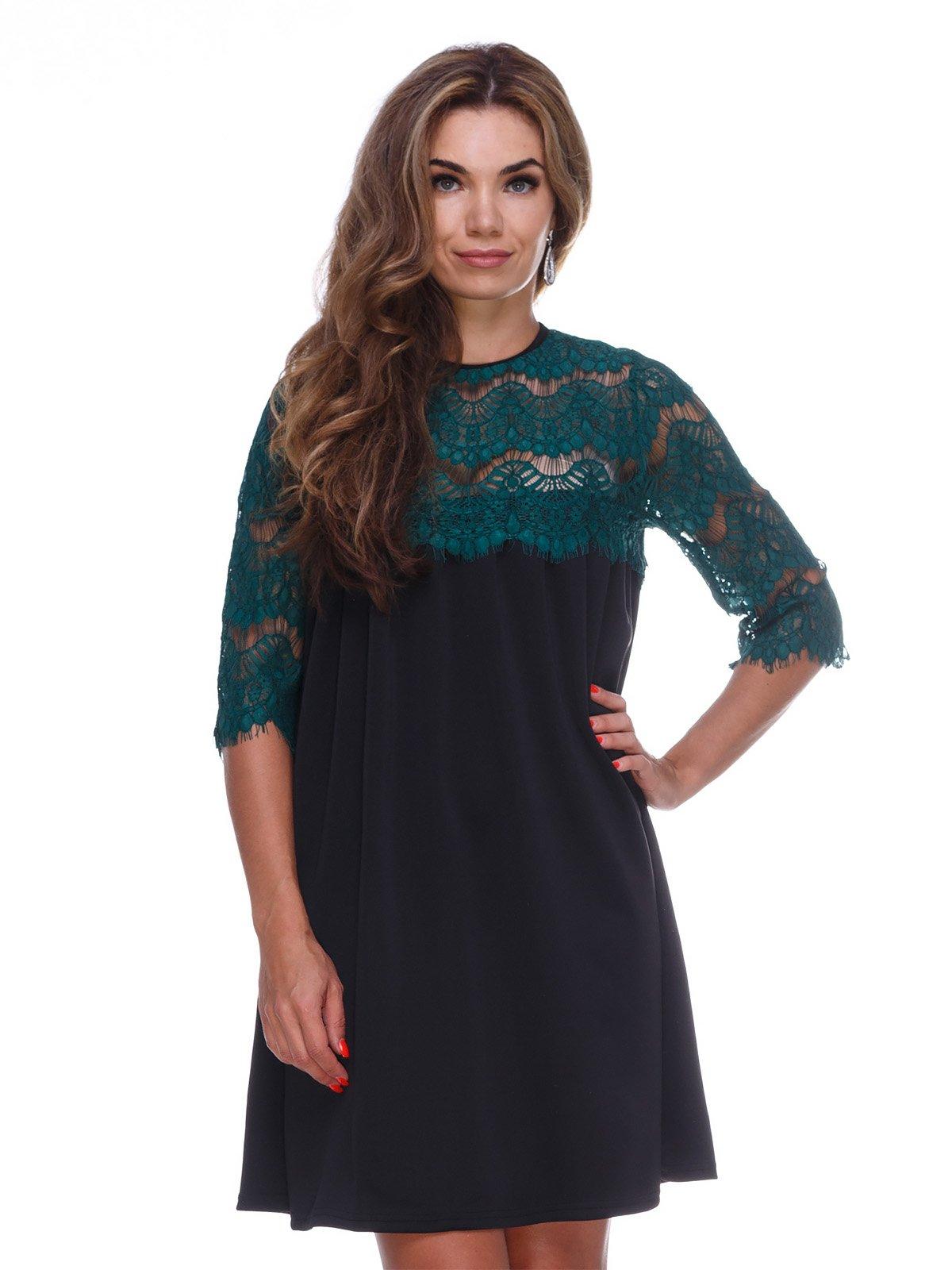 Платье черно-изумрудного цвета | 3086326