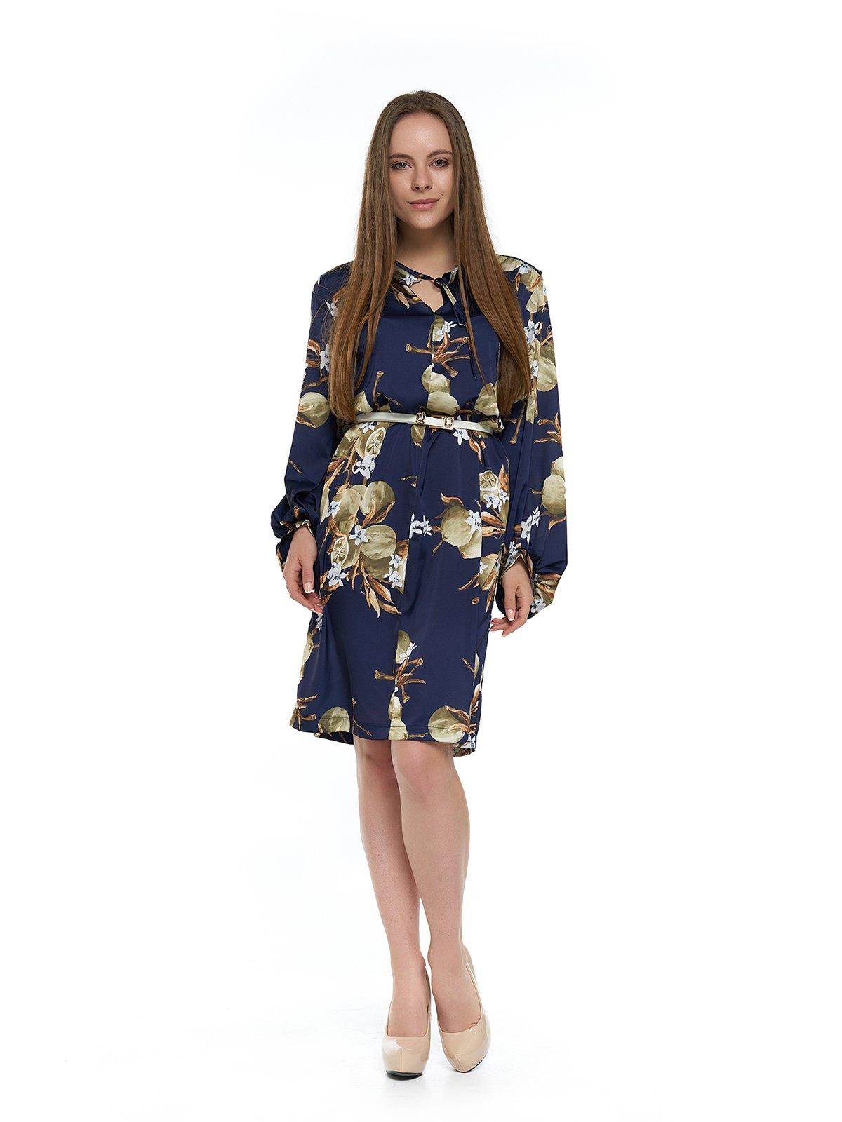 Платье темно-синее с принтом   3264132