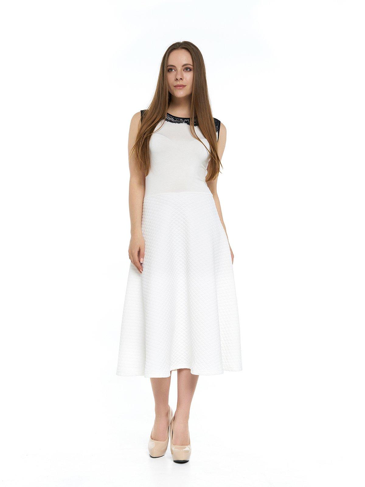 Сукня молочного кольору з мереживом | 3264138